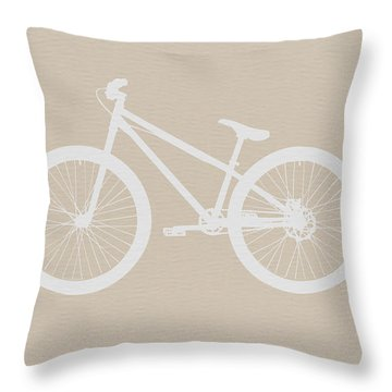 Bicycle Brown Poster Throw Pillow by Naxart Studio