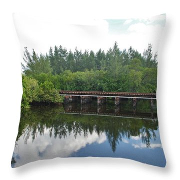 Big Sky And Docks On The River Throw Pillow by Rob Hans