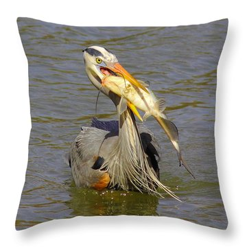 Bigger Fish To Fry Throw Pillow by Robert Frederick