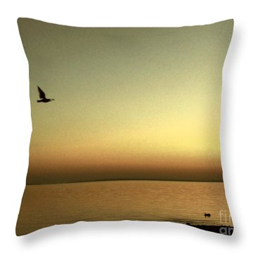 Bird At Sunrise - Sepia Throw Pillow by Desiree Paquette