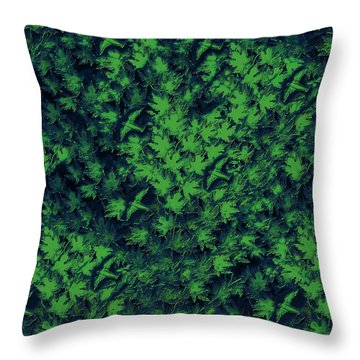 Birds In Green Throw Pillow by David Dehner