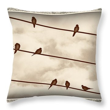 Birds On Wires Throw Pillow by Susan Kinney