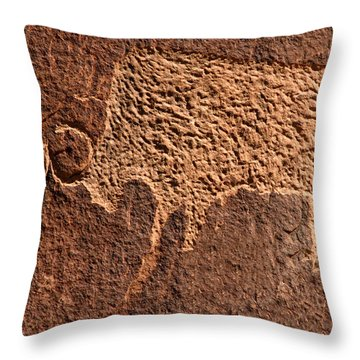 Bison Hunt Throw Pillow by David Lee Thompson