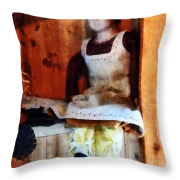 Bisque Doll Throw Pillow by Susan Savad