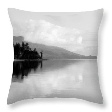 Black And White Island Near Hoonah Throw Pillow by Darcy Michaelchuk