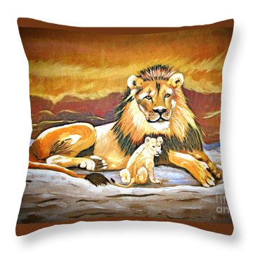 Black Maned Lion And Cub Throw Pillow by Phyllis Kaltenbach
