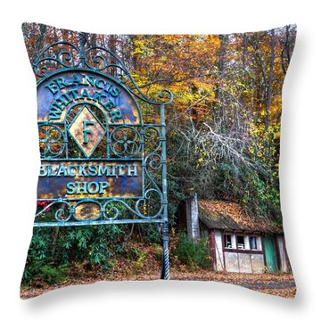 Blacksmith Shop Throw Pillow by Debra and Dave Vanderlaan