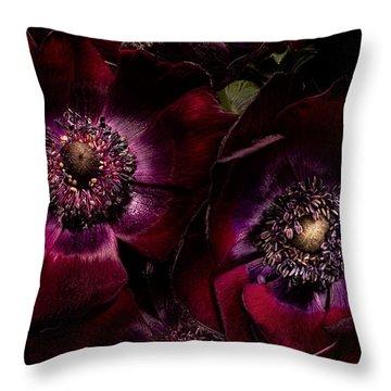 Blood Red Anemones Throw Pillow by Ann Garrett