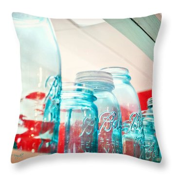 Blue Ball Canning Jars Throw Pillow by Paulette B Wright