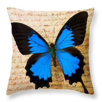 Blue Butterfly On Old Letter Throw Pillow by Garry Gay