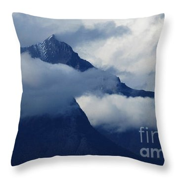 Blue Canadian Rockies Throw Pillow by Bob Christopher