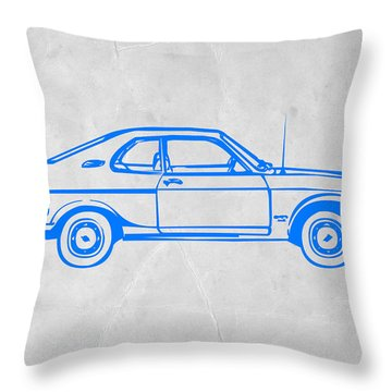 Blue Car Throw Pillow by Naxart Studio