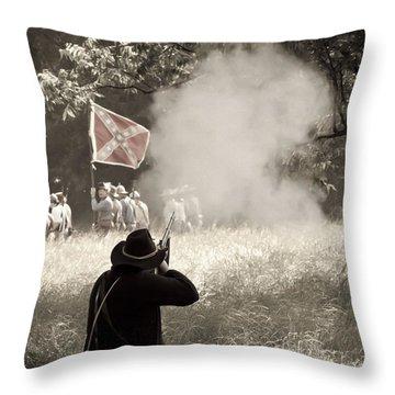 Blue Coat Gray Smoke Throw Pillow by Kim Henderson