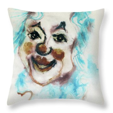 Blue Collar Clown Face With Red Nose And Lips Raised Eyebrows Smile   Throw Pillow by Rachel Hershkovitz
