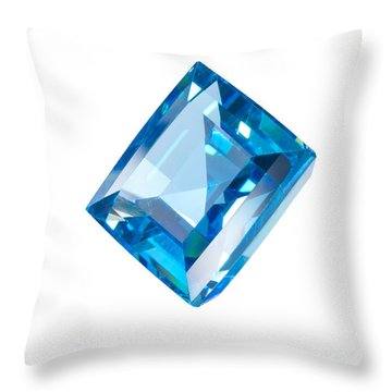 Blue Gem Isolated Throw Pillow by Atiketta Sangasaeng