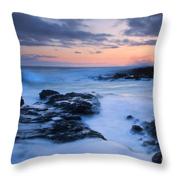 Blue Hawaii Sunset Throw Pillow by Mike  Dawson