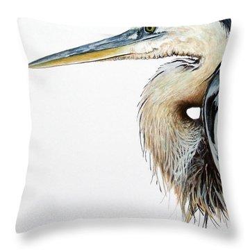 Blue Heron Study Throw Pillow by Greg and Linda Halom