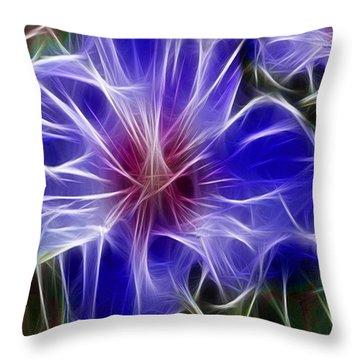 Blue Hibiscus Fractal Panel 3 Throw Pillow by Peter Piatt