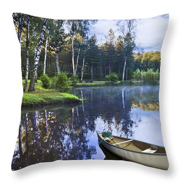 Blue Lake Throw Pillow by Debra and Dave Vanderlaan