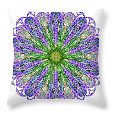 Blue Lavender Floral Kaleidoscope Throw Pillow by Carol F Austin
