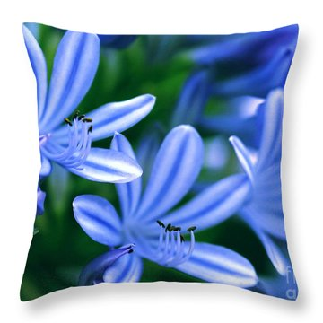 Blue Lily Of The Nile Throw Pillow by Sabrina L Ryan