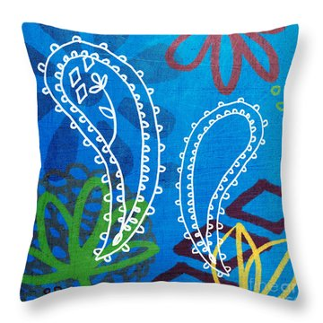 Blue Paisley Garden Throw Pillow by Linda Woods
