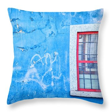 Blue Wall And Window With Red Frame Throw Pillow by Silvia Ganora