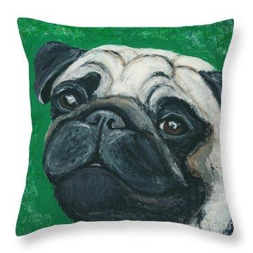 Bo The Pug Throw Pillow by Ania M Milo