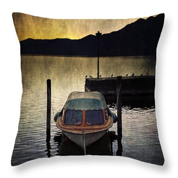 Boat During Sunset Throw Pillow by Joana Kruse