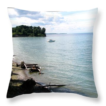 Boat On Lake Ontario Throw Pillow by Rose Santuci-Sofranko