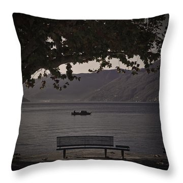 boat on the Lago Maggiore Throw Pillow by Joana Kruse