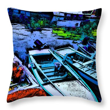 Boats 2 Throw Pillow by Mauro Celotti