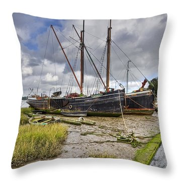 Boats On The Hard At Pin Mill Throw Pillow by Gary Eason