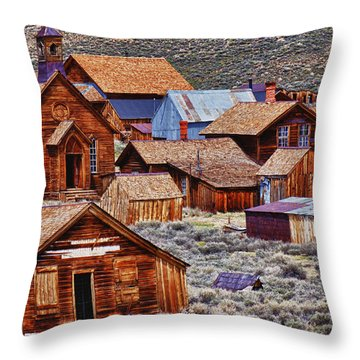 Bodie Ghost Town California Throw Pillow by Garry Gay