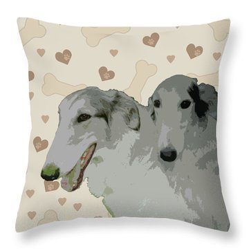 Borzoi Throw Pillow by One Rude Dawg Orcutt