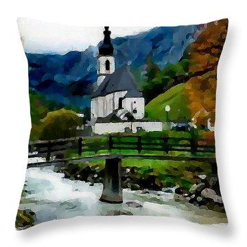 Bosnian Country Church Throw Pillow by Jann Paxton
