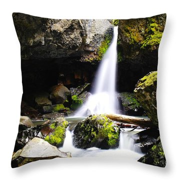 Boulder Cave Falls Revisited Throw Pillow by Jeff Swan