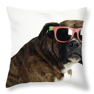 Boxer Wearing Sunglasses Throw Pillow by Ron Nickel