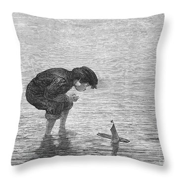 Boy And Toy Boat Throw Pillow by Granger