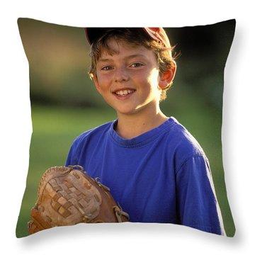 Boy With Baseball Glove Throw Pillow by John Sylvester