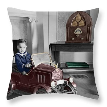 Boy With Toy Car Throw Pillow by Andrew Fare
