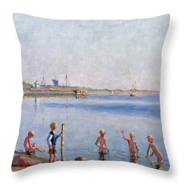 Boys At Water's Edge Throw Pillow by Johan Rohde