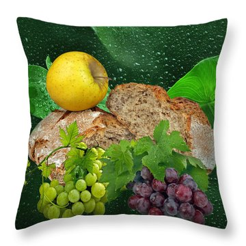 Bread Throw Pillow by Manfred Lutzius