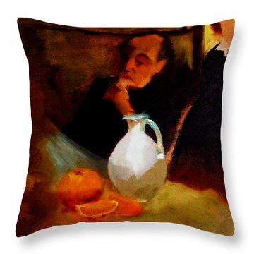 Breaktime With Oranges And Milk Jug Man Deep In Philosophical Thought With Mysterious Boy Servant Throw Pillow by M Zimmerman MendyZ