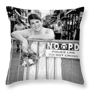 Bride On The Barricade On Bourbon St Nola Throw Pillow by Kathleen K Parker