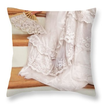 Bride Sitting On Stairs With Lace Fan Throw Pillow by Jill Battaglia