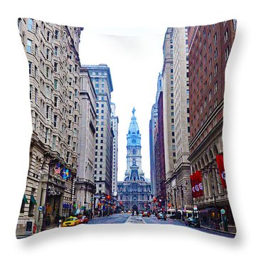 Broad Street Avenue Of The Arts Throw Pillow by Bill Cannon