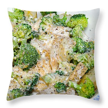Broccoli Cheese Potatoes Throw Pillow by Andee Design