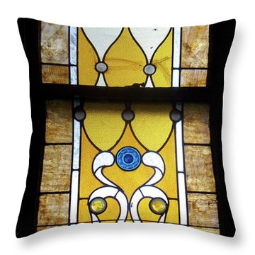 Brown Stained Glass Window Throw Pillow by Thomas Woolworth
