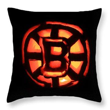 Bruins Carved Pumpkin Throw Pillow by Lloyd Alexander